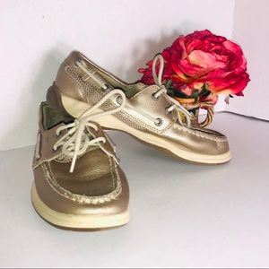 SPERRY GOLD METALLIC LEATHER TOP SIDER BOAT SHOE